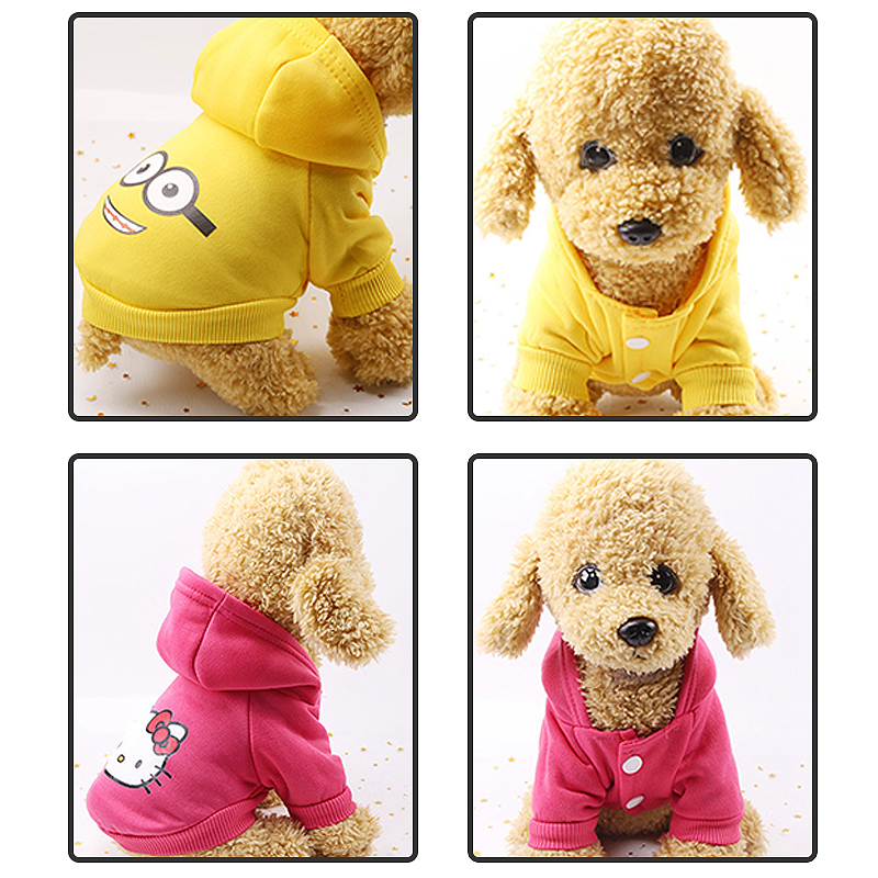 Cartoon Printed Dog Jacket with Soft Cotton Hoodie in Button Closure Design for Small/Medium Dogs