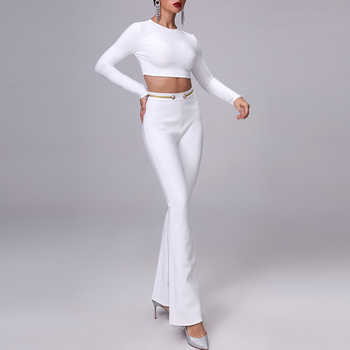 INDRESSME 2019 Fashion O-Neck Sexy Short Top Long Pant Suits Set With Button Tassel Formal Women Elegant Bandage 2 Pieces Sets