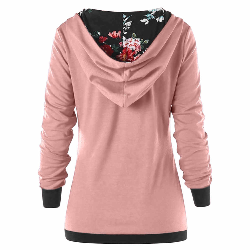 Hoodie Wanita Sweatshirt Tombol Floral Patchwork Lengan Panjang Berkerudung Musim Gugur Musim Semi Pullover Sweatshirt Sudadera Mujer Moletom