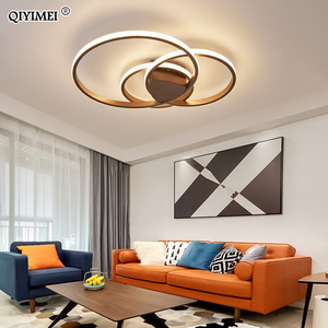 Image 2 - Modern Rings LED Chandeliers Lighting For Bedroom Living Room White Black Coffee Lights Fixture Lamps AC90 260V QIYAMEI