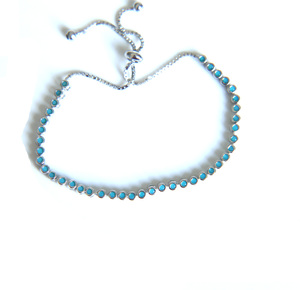 Image 5 - 2017 factory 2mm turquoises bezel setting tennis 925 sterling silver adjust chain dainty girl women silver bracelet