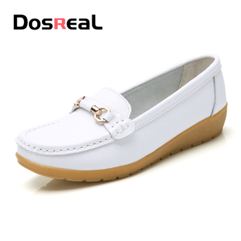Dosreal Women Cow Leather Loafers Shoes Ladies Metal Buckle Flats Shoes Spring Comfortable Slip on