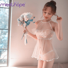Meethope sexy lingerie transparent erotic strap lace pajamas suit cute embroidered mesh female perspective nightdres