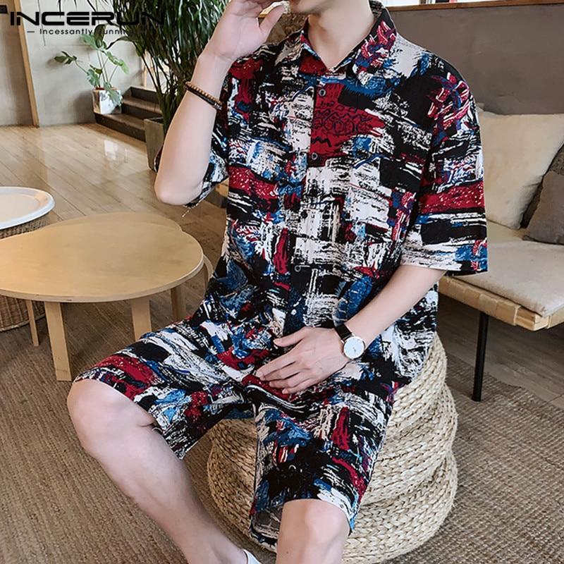 Men Sets Printed Half Sleeve Lapel Shirt & Shorts Cotton Streetwear Pockets Male Casual Suit Summer Vintage Men Clothes INCERUN