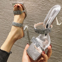 issacoco square head knit women s slippers ladies casual shoes non slip ladies slippers home slippers women shoes women sandals Women Shoes Square Head Sequined Ladies High Heels Summer Slippers PVC Heel Elegant Mid-Heel Casual Shoes Good Quality Sandals
