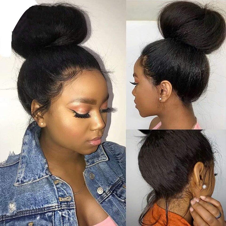 Kinky Straight Closure Wig PrePlucked  13x4 Lace Frontal  Wigs  s Yaki  Wigs 6