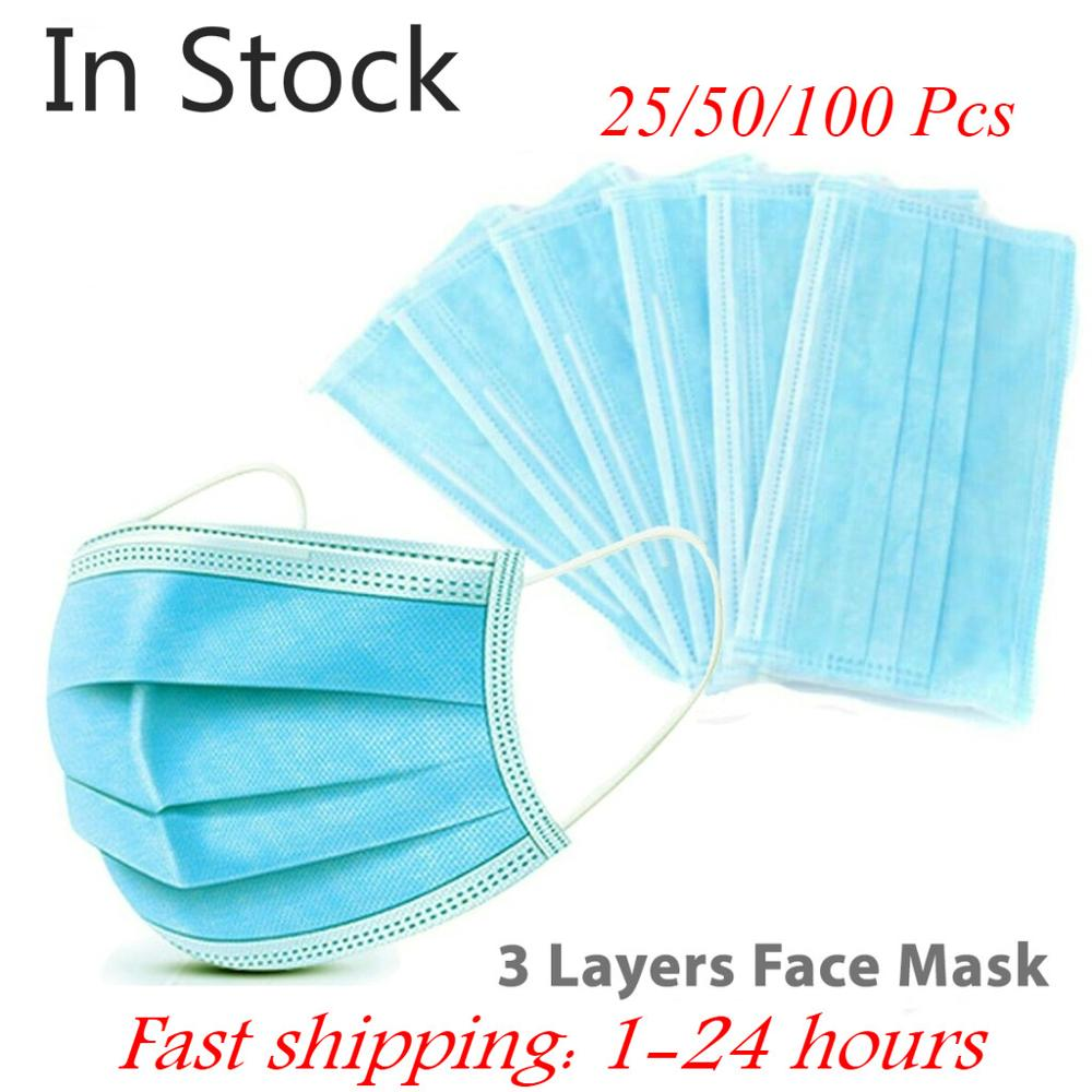 3 Layer Disposable Masks Mouth Face Mask Facemask Protective Dust Mask Protection Non-woven Breathable Mask Respirator