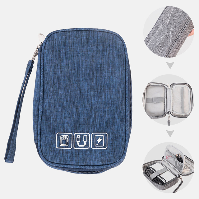 Portable Electronic Earphone Cable Bag Organizer Digital USB Gadget Wires Charger Accessories Supplies Case Zipper Storage Pouch