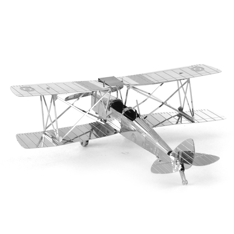Love Spell All-Metal Stainless Steel DIY Assembled Model 3D Nanometer 3D Puzzle Model Tiger Moth Machine Biplane