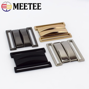 Meetee 2pcs 30-70mm Metal Belt Buckles Women Coat Down Jacket Pants Buttons Crafts Decoration DIY Garment Sew Accessories AP513(China)