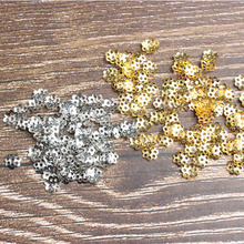 Factory direct sales accessories iron flower receptacle bead base 6MM-1000PCS 8MM-500PCS nickel, gold silver