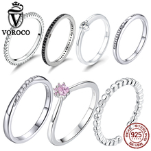 VOROCO Real 925 Sterling Silver Simple Design Round Wedding Ring Glitter Clear CZ Crystal Rings Woman Fine Trendy Jewelry BKR066