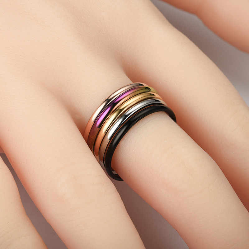 ZORCVENS 2020 여성을위한 새로운 간단한 2mm 얇은 반지 4 색 스테인레스 스틸 우아한 파티 테일 결혼 반지 쥬얼리 파티 선물