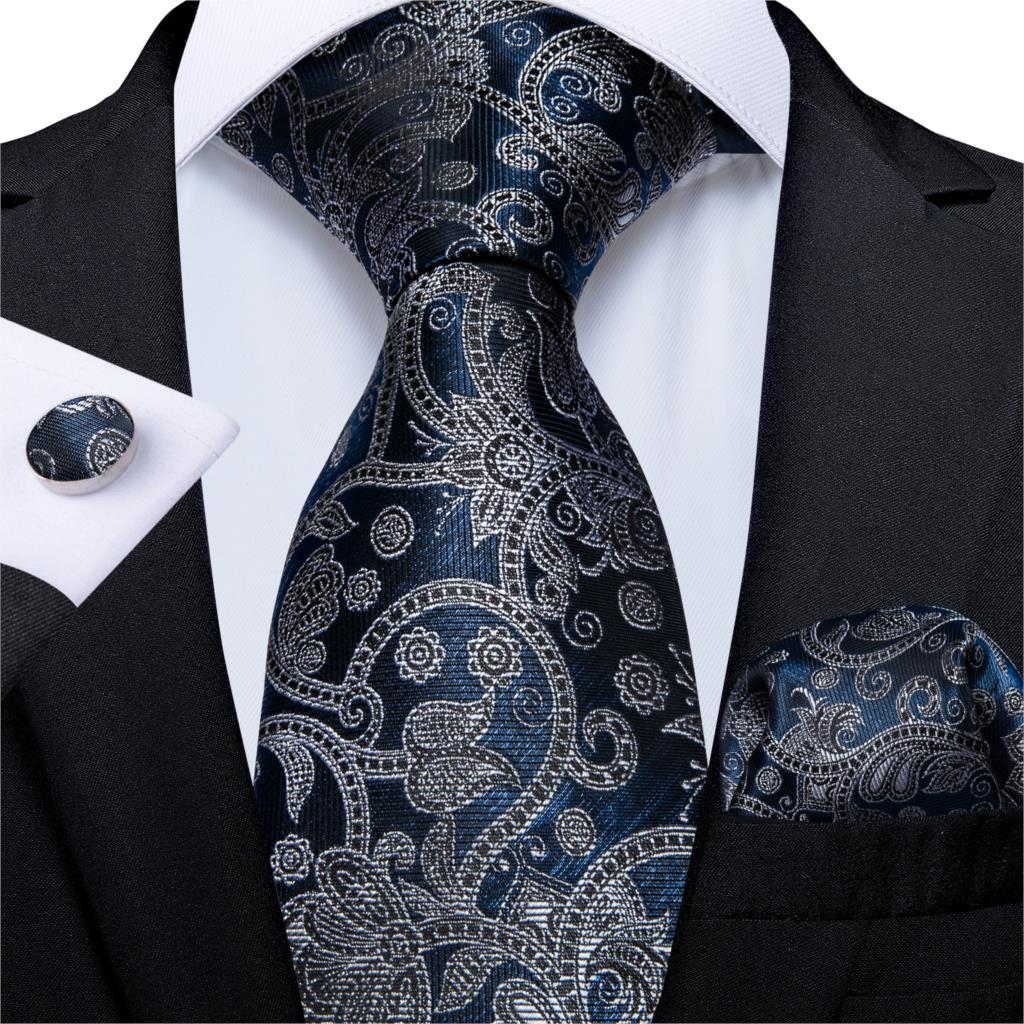 Men Necktie Blue Silver Paisley Silk Wedding Tie For Men Handky Cufflink Set Fashion Business Party DiBanGu New Designer MJ-7007
