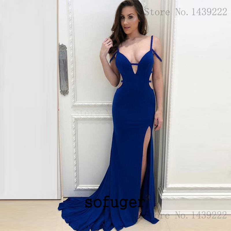 Sexy Royal Blue Girl V Neck straps   Evening     Dresses   Prom Sexy Backless High Slit Arabic Special Occasion Robe De Soiree Plus