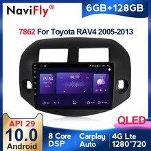 6G + 128G QLED 4G LTE WIFI CarPlay Android 10 Auto Radio Audio Multimedia-Player GPS Navigation für Toyota RAV4 3 XA30 2005 - 2013