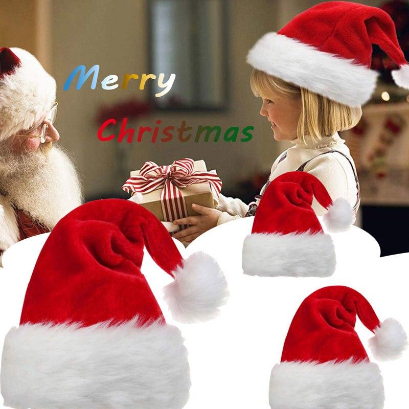 Navidad Новогодняя Толстая Рождественская шапка из плюша для взрослых детей рождественские украшения для дома Рождественские подарки Санта К...