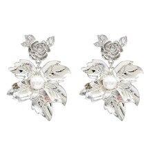 FIAZIA Irregular Metal Plant Drop Earring For Women Jewelry Accessories Leaf Dangle Earrings Gold Flower