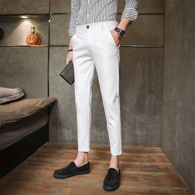Capri Pants Men Summer Korean-style Slim Fit Skinny Pants MEN'S Casual Pants Trend 9 Points Pants Men's