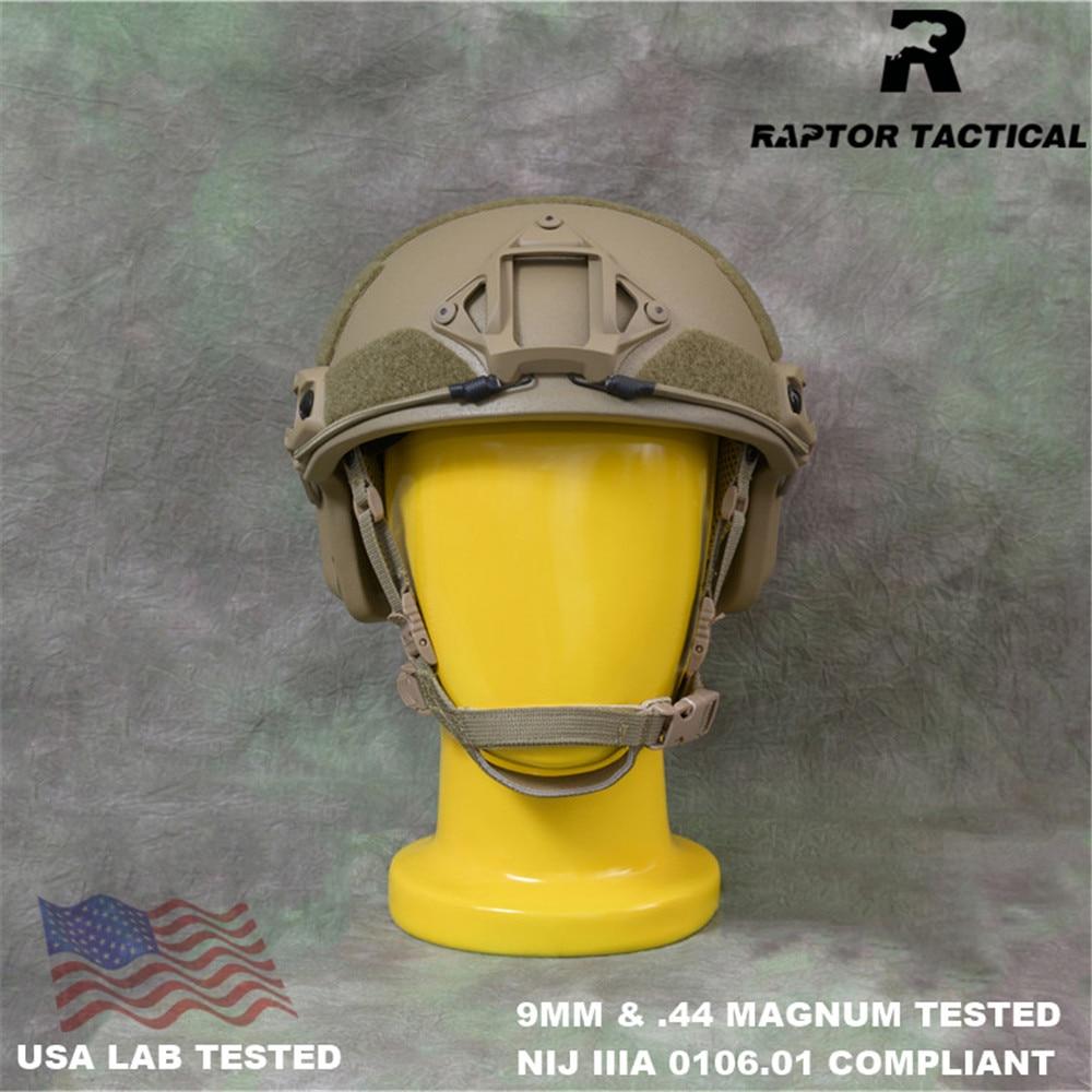 Быстрый Пуленепробиваемый Шлем Raptor NIJ IIIA 3A 0106,01 ISO сертифицированный циферблат высокой посадки XP Cut UHMWPE пуленепробиваемый шлем