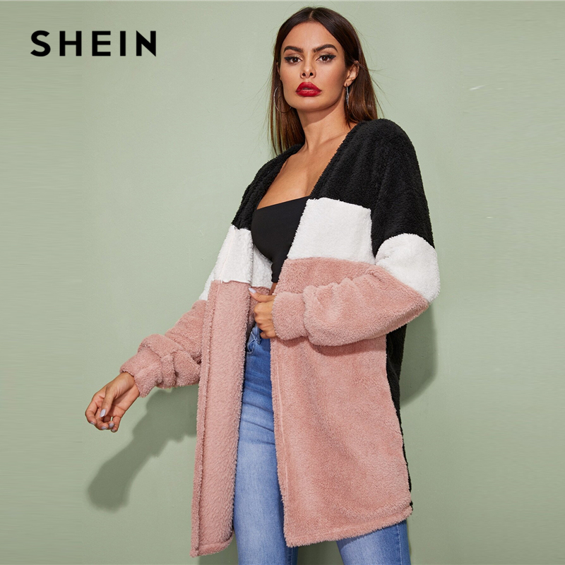 SHEIN Multicolor Cut-And-Sew Open Front Casual Winter Teddy Coat Women Streetwear Long Sleeve Ladies Colorblock Stretchy Outwear 2