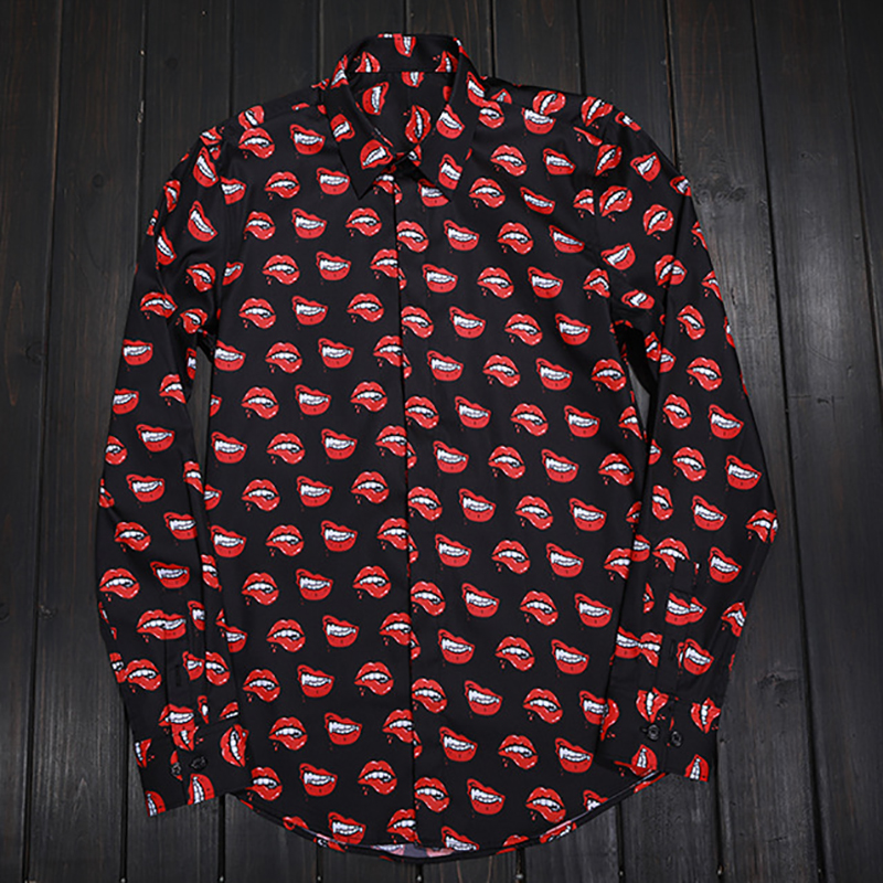 Teufel Roten Lippen Druck Männer Shirts Klassische Langarm Slim Fit drehen unten Kragen Hemd Europa Mode Streetwear Kleidung 50 100KG - 6