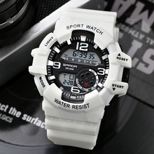 SANDA Men Watches Top Brand Luxury Sports Watches Men LED Digital Watches Waterproof Military Watches Men Relogio Masculino 2019 cheap 27cm Resin Buckle 5Bar 48mm Rubber 18 1mm Stop Watch Back Light Shock Resistant LED display Auto Date Chronograph Complete Calendar