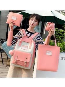 High-School-Bags Travel Backpack Canvas Teenage 5piece-Set Girls Student Women for Bolsas