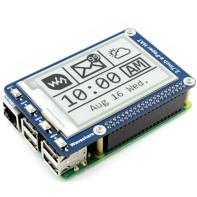 Waveshare 2.7 Polegada e-paper, 264x176, e-ink display hat para raspberry pi 2b/3b/zero/zero w, cor: preto, branco, interface spi