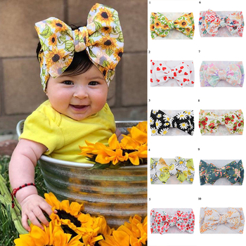 Fashion Big Bowknot Baby Hair Ribbon Floral Print Headwear Newborn Kids Turban Bow Headwraps Headbows New Baby Girls Hairbands image