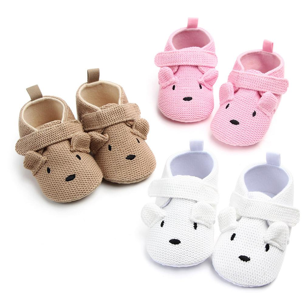 Spring Autumn Cute Bear Knitted Newborn Baby Shoes Girls Boy Shoes Anti-slip Warm Sole Sneakers Prewalker Flat Shoes