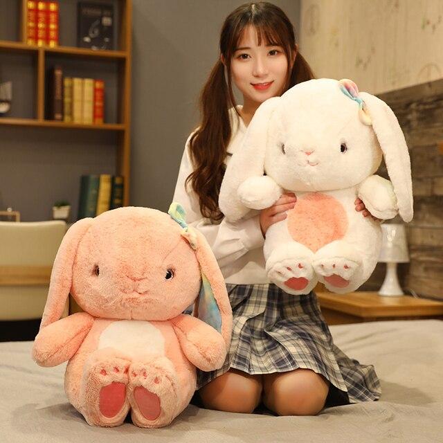 25~40cm Sweet Fuzzy Long Plush Lop Toy Stuffed Sitting Bowknot Rabbit Doll Adorable Bunny Plushie Girlfriend Girl Gift 1