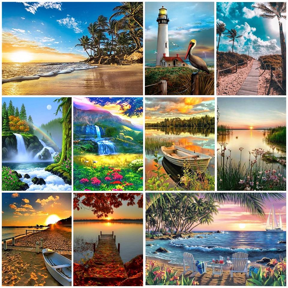 5D diy diamond painting landscape waterfall lighthouse embroidery mosaic art painting decoration accept photo customization