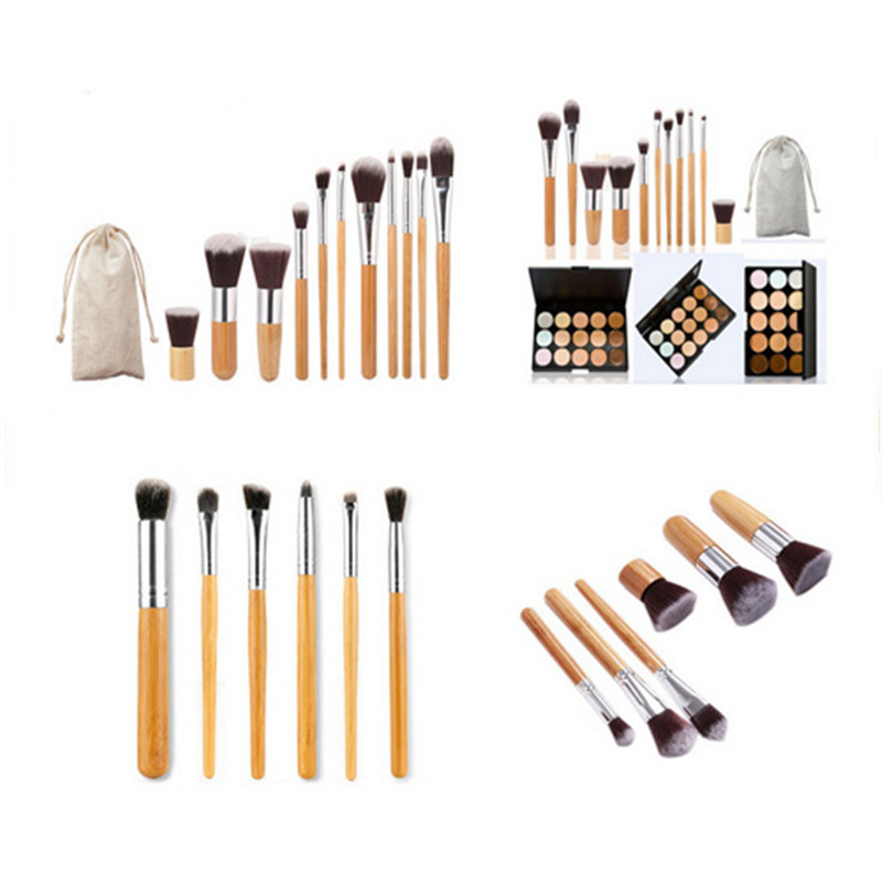 Premium Nylon Material Bamboo Handle Makeup Brushes Set Concealers Foundation Powder Eye Shadows Makeup Brushes Tool