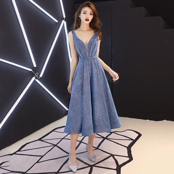 FZSLCYIYI Fashion New Simple Evening Dress V-Neck Sequins Sparkling  Blue Elegant Long Party Formal Gowns Vestido De Noche