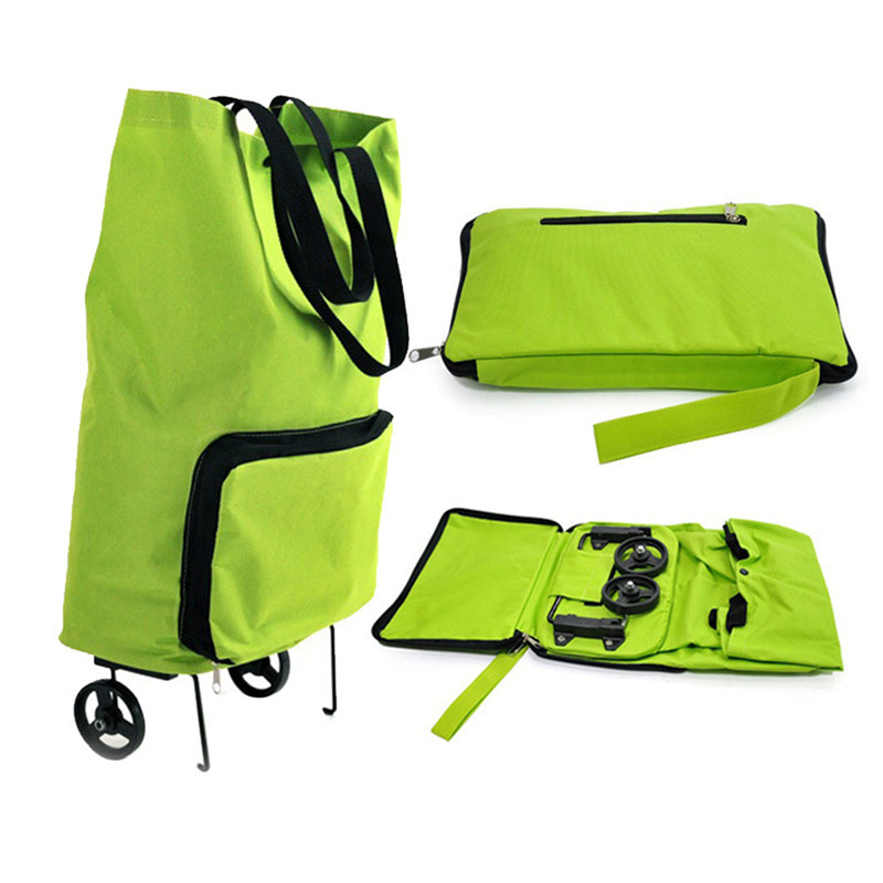 Green Foldable Supermarket Shopping Trolley Bag Wheel Light Weight Large Capacity Eco Friendly Folding Bag Travel Cart Luggage