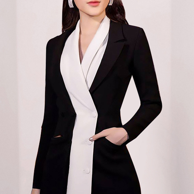 [DEAT] 2020 Office Lady Style Womens Blazer Coat Full Sleeve Colorblock Higu Quality Wild Notched Waist New Design Fashion R419