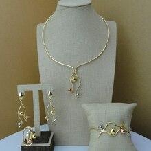 Yumingtai ensemble de bijoux de créateur de dubaï, ensemble de bijoux en trois tons, FHK7238