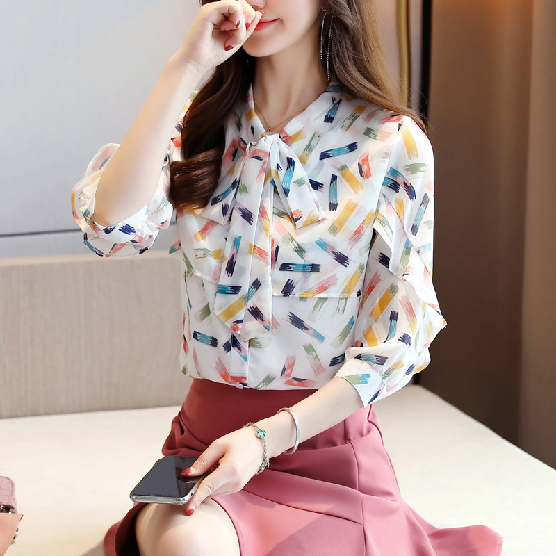 Korean Chiffon Women Blouses Shirt Woman Striped Shirt Tops Office Lady Ruffles Blouse Shirt Plus Size Blusas Femininas Elegante