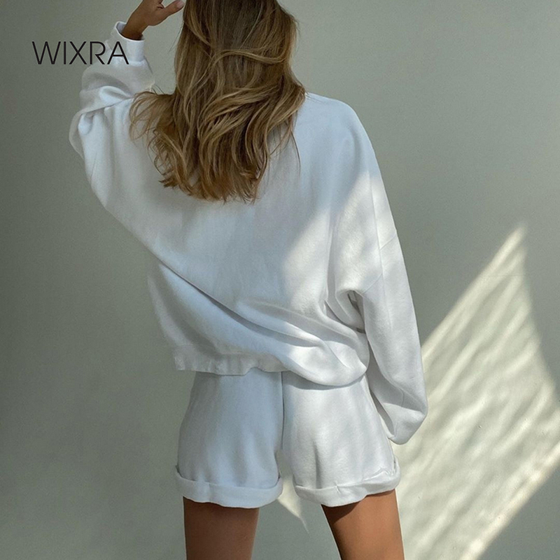 Wixra Vrouwen Suits Leisure Wear Solid Volledige Mouw O hals Losse Sweatshirts + Lace Up Shorts Casual 2 Stuk Sets