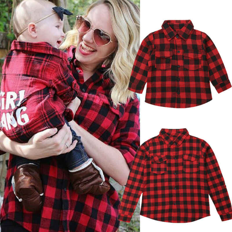 Parent-child matching mom kid fashion shirt long-sleeved red plaid letter print autumn Blouse clothes top
