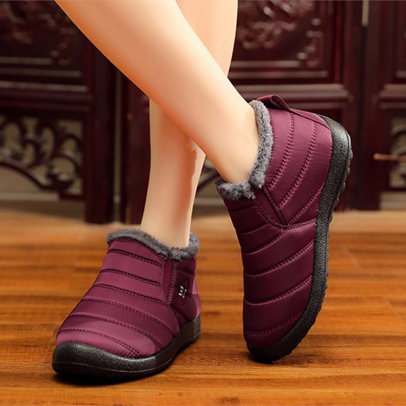 Kadın botları artı boyutu 43 ayak bileği kış çizmeler kadın ayakkabı peluş kar botları kadın moda Unisex severler rahat kış ayakkabı