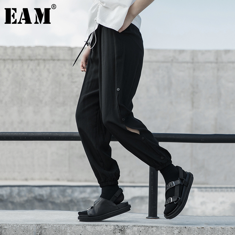 [EAM] High Elastic Waist Balck Side Button Long Harem Trousers New Loose Fit Pants Women Fashion Tide Spring Autumn 2020 1S677