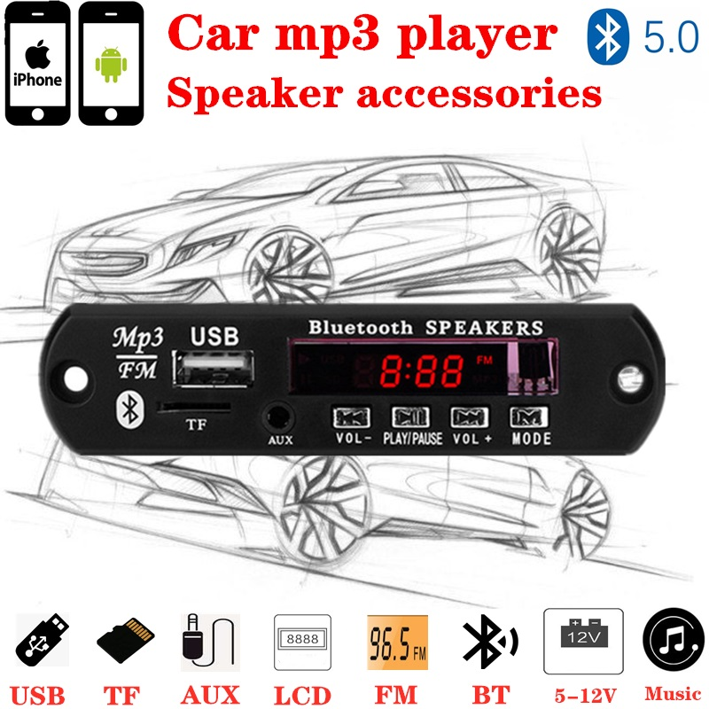 Red Color Screen 5-12V MP3 WMA Wireless Bluetooth 5.0 Decoder Board Audio Module USB FM TF Radio AUX Input No Amplifier For Car