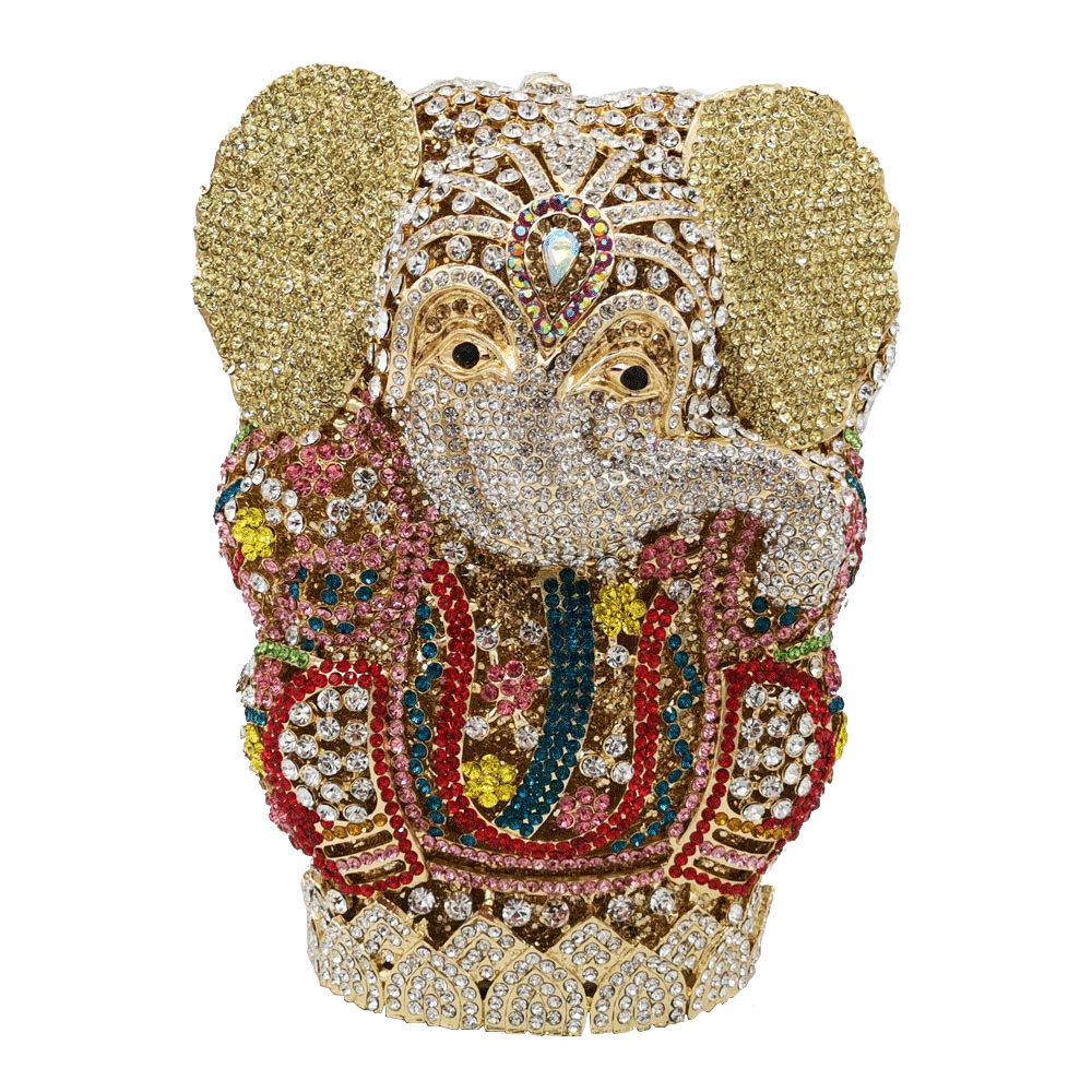 Boutique De FGG Thai Buddhism Elephant Crystal Women Evening Clutch Bags Wedding Formal Dinner Minaudiere Handbags And Purses