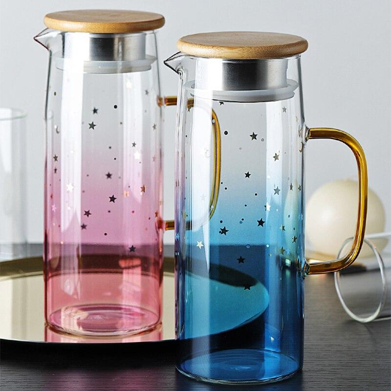 الزجاج إبريق براد مياه مقاومة للحرارة إبريق ماء غلاية غطاء من البامبو 1000 مللي ل الماء المغلي الشاي عصير الفاكهة