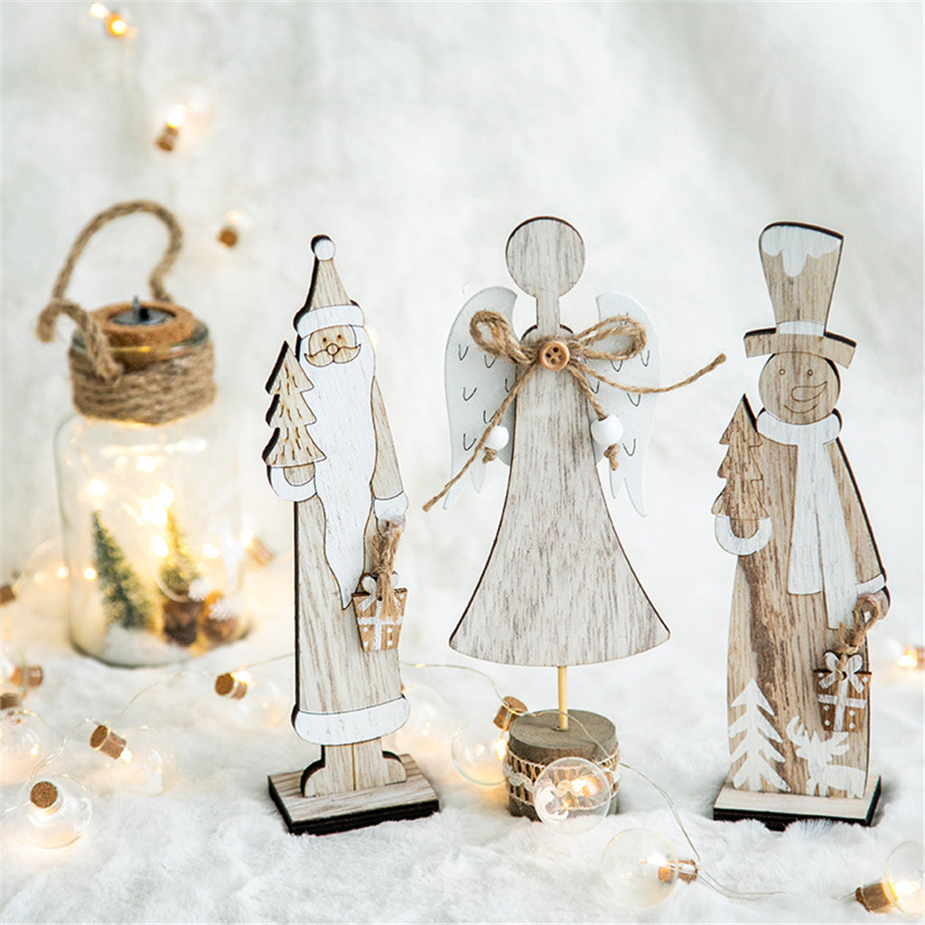 Figurines Miniatures Ornament Wooden Mini Christmas Santa Claus Snowman Xmas Ornaments Gifts Home Party New Year Home Decoration