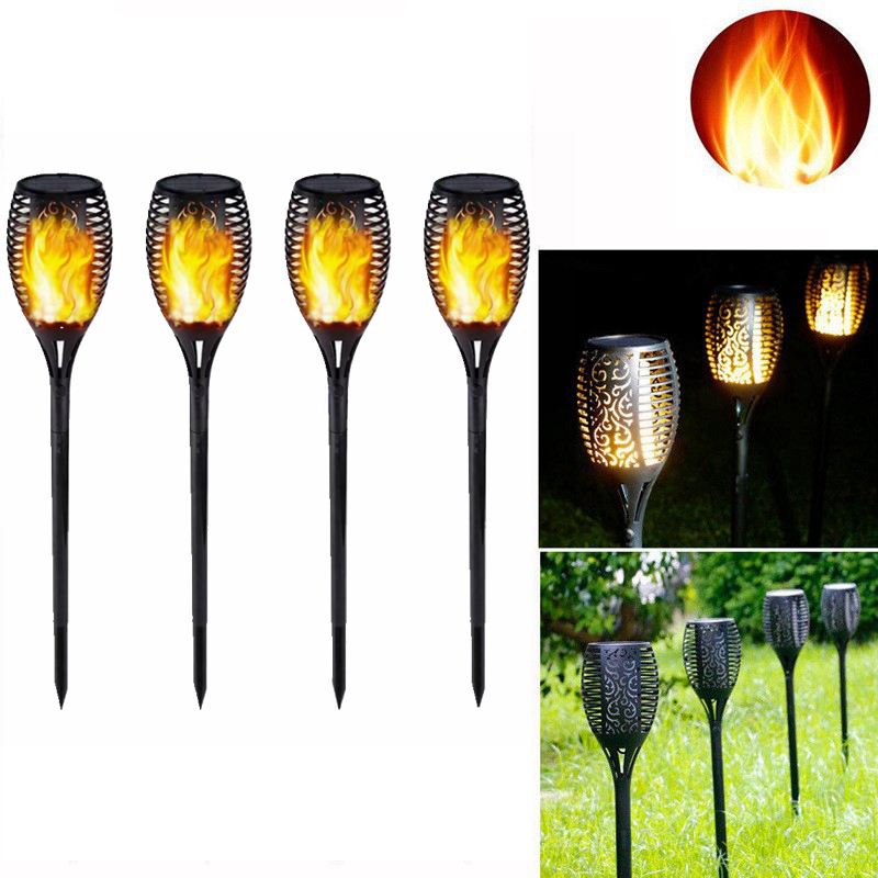 4pcs/set 96 LED Solar Lamp Solar Flame Light Outdoor Waterproof Induction Light Garden Insert  Ground Light Decor Landscape Lamp