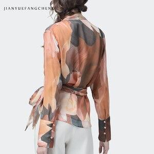 Image 5 - Đầm Voan Nữ Top Nghệ Thuật Cam In Gợi Cảm Ôm Áo Vượt Qua Tay Dài Cổ Chữ V Thời Trang Nữ Mùa Hè Thu Cổ Áo