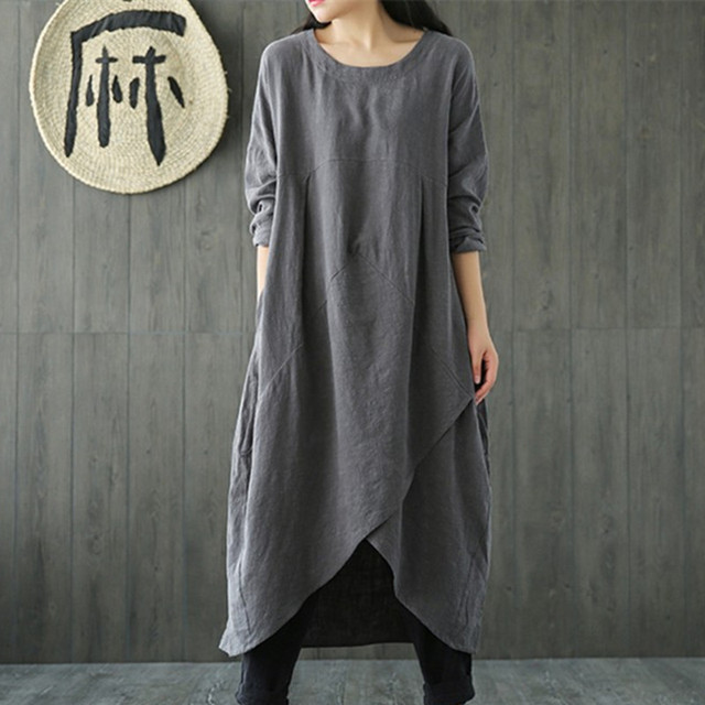 Uego Linen Cotton Dress Plus Size M-5XL Loose Dress Solid Color Long Sleeve Autumn Dress Vintage Women Dress Femeal Spring Dress 4